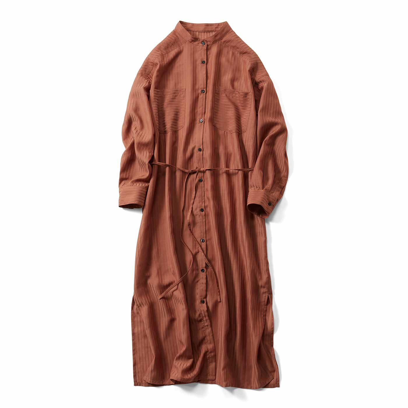 IEDIT[イディット] シアー素材のストライプロングシャツドレス〈テラコッタブラウン〉