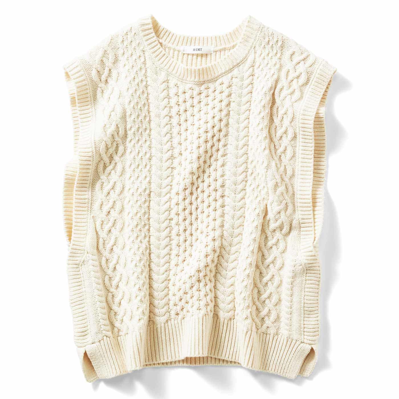IEDIT[イディット] 小森美穂子さんとコラボ オンするだけで旬顔 こだわり素材の編み柄ニットベスト〈アイボリー〉