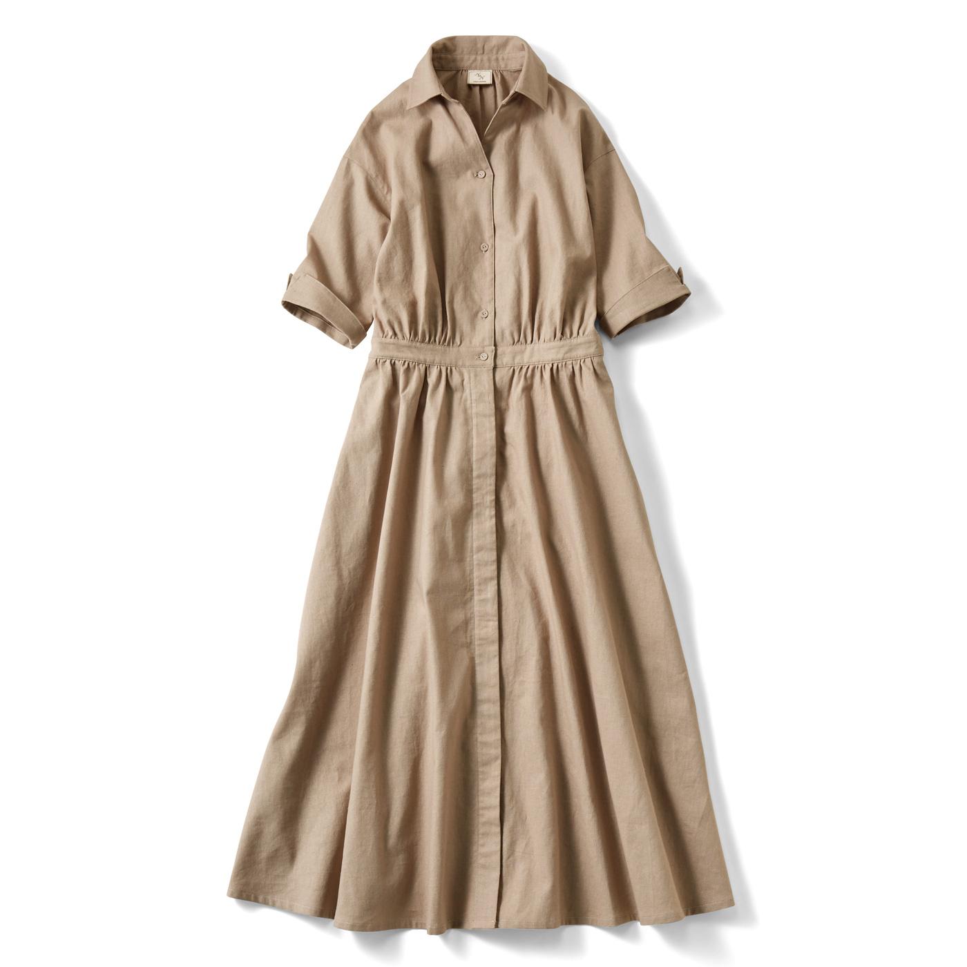 IEDIT[イディット] コットンリネンのオープンカラーシャツワンピース〈グレージュ〉