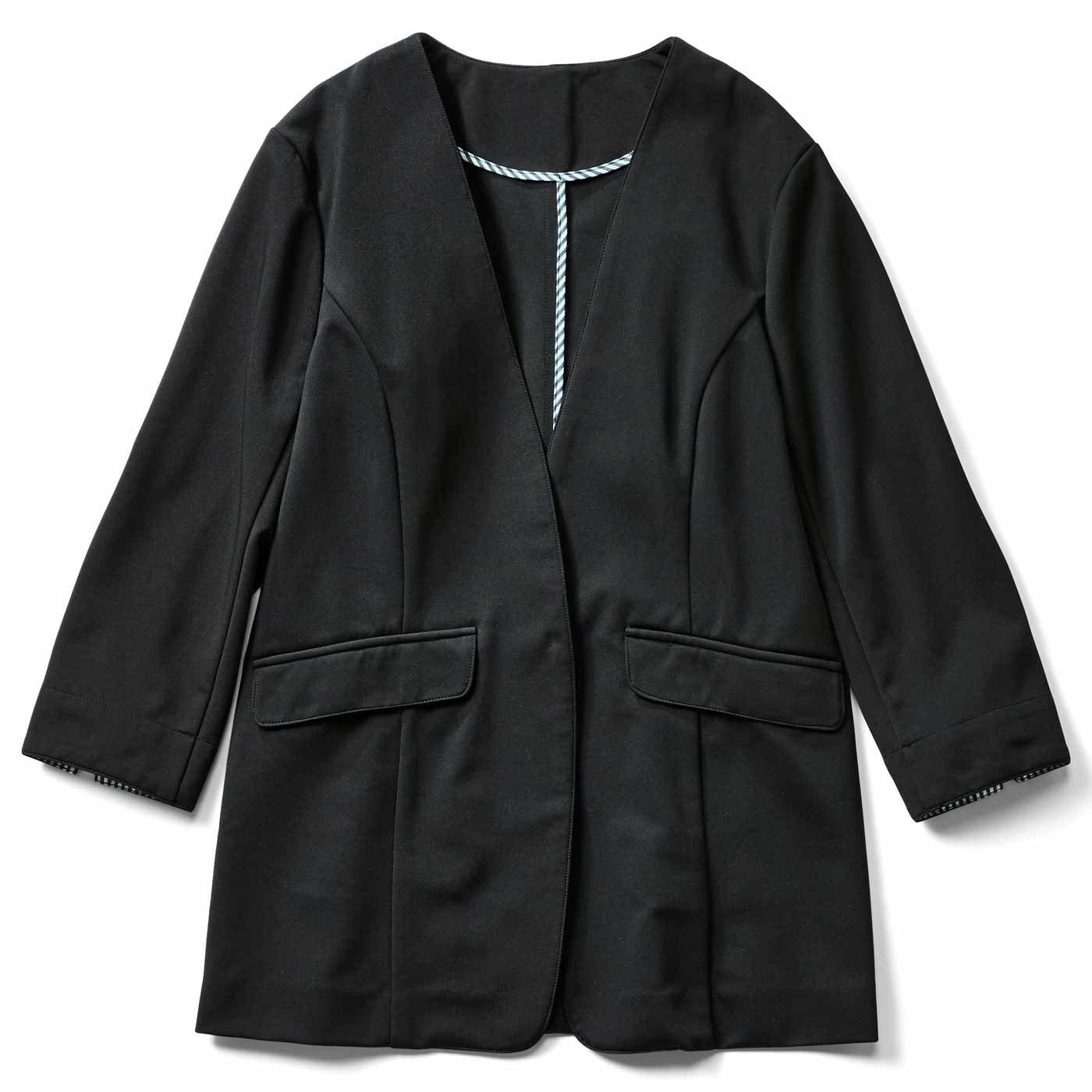 IEDIT[イディット] 接触冷感が快適な軽やかバレエフィット(R)ジャケット〈ブラック〉