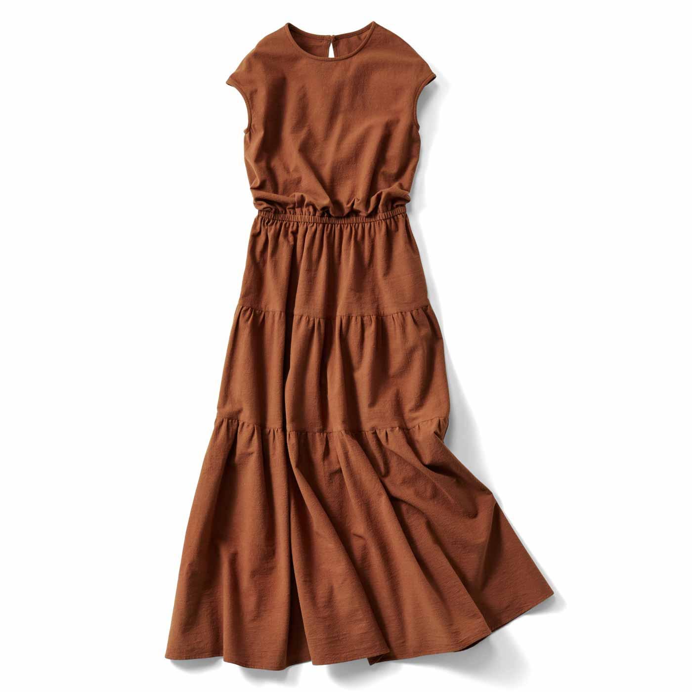 IEDIT[イディット] ティアードデザインの大人サマードレス〈テラコッタブラウン〉