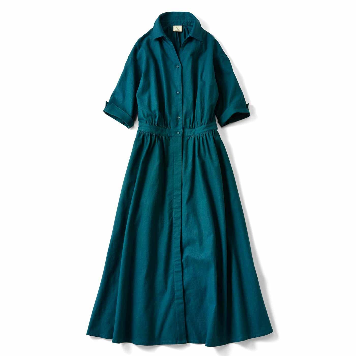 IEDIT[イディット] コットンリネンのオープンカラーシャツワンピース〈ブルーグリーン〉