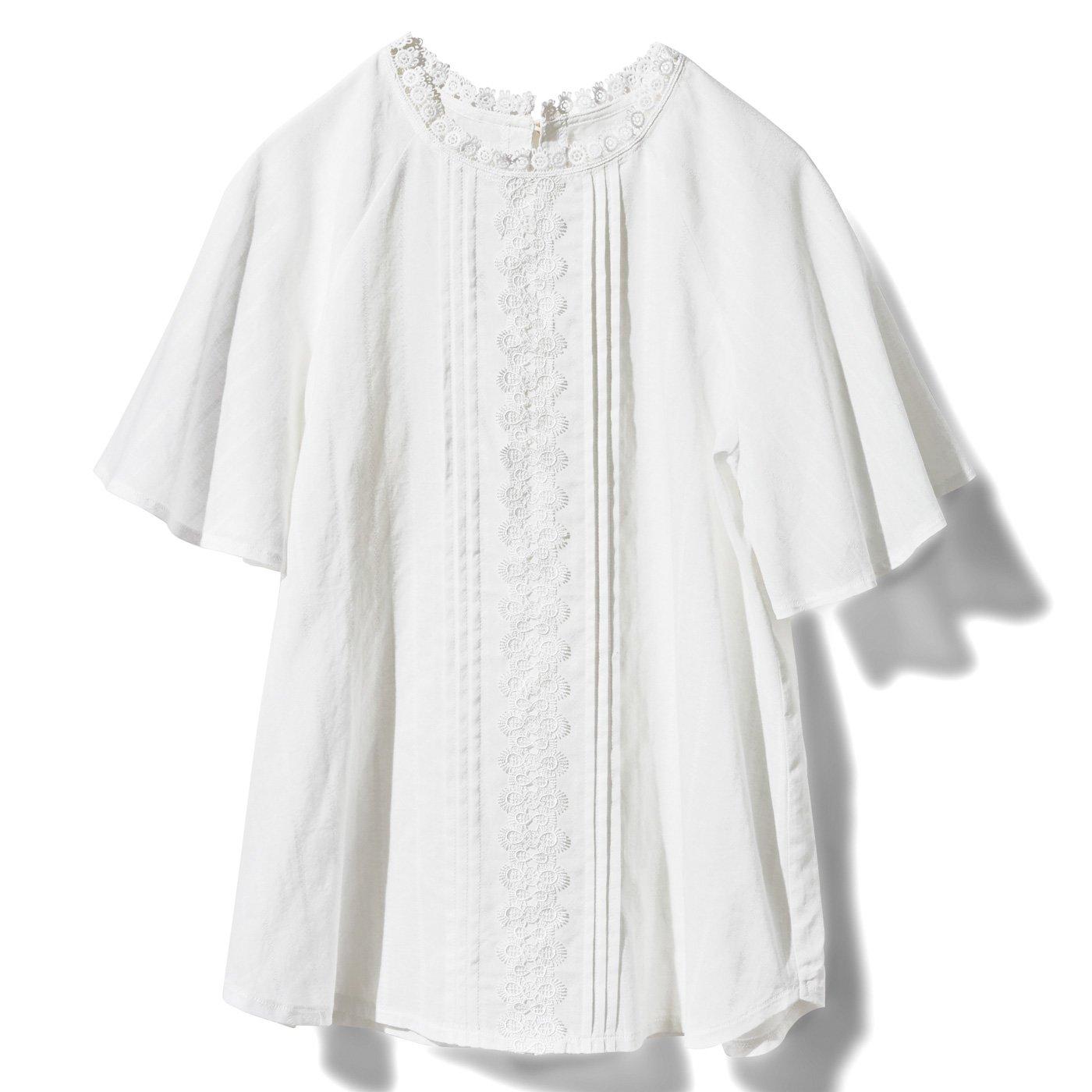 IEDIT[イディット] コットン織り柄素材のレース遣いブラウス〈ホワイト〉