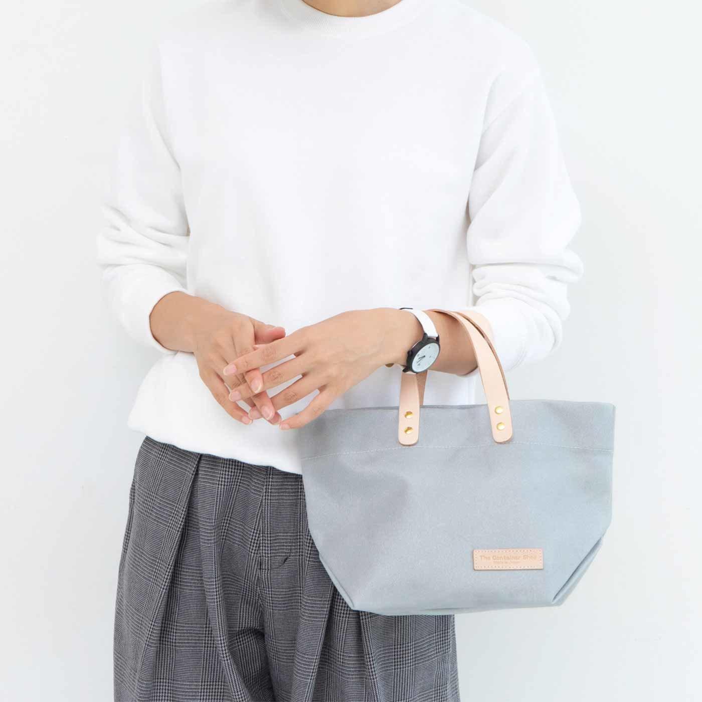 UP.de デイリーサイズがうれしい 日本製のカラー帆布 ショルダートートバッグ〈シルバー〉