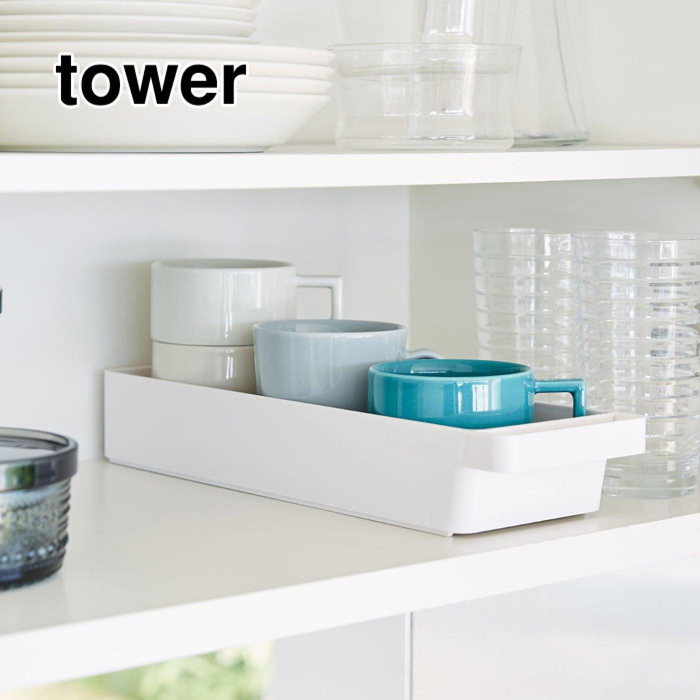 tower ハンドル付きスリムグラス&マグ収納