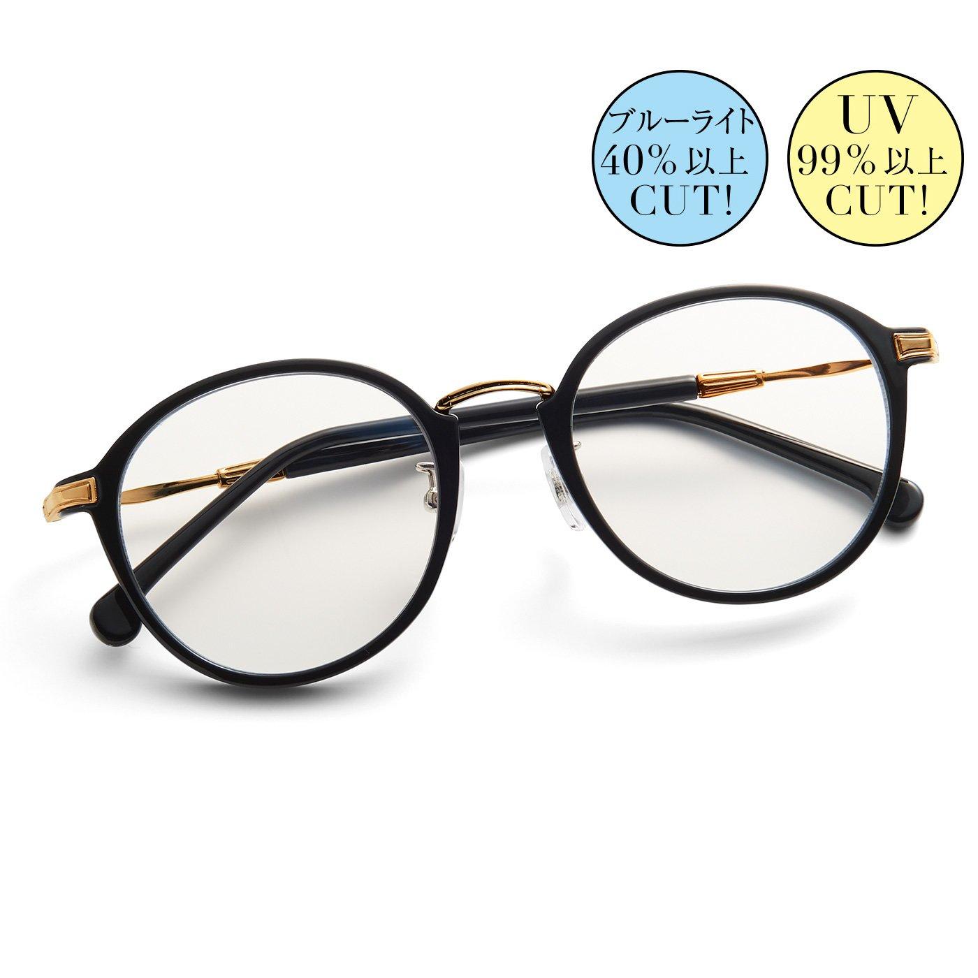 IEDIT[イディット] 紫外線とブルーライトから瞳を守る 大人好みの眼鏡見えサングラス〈ブラック〉