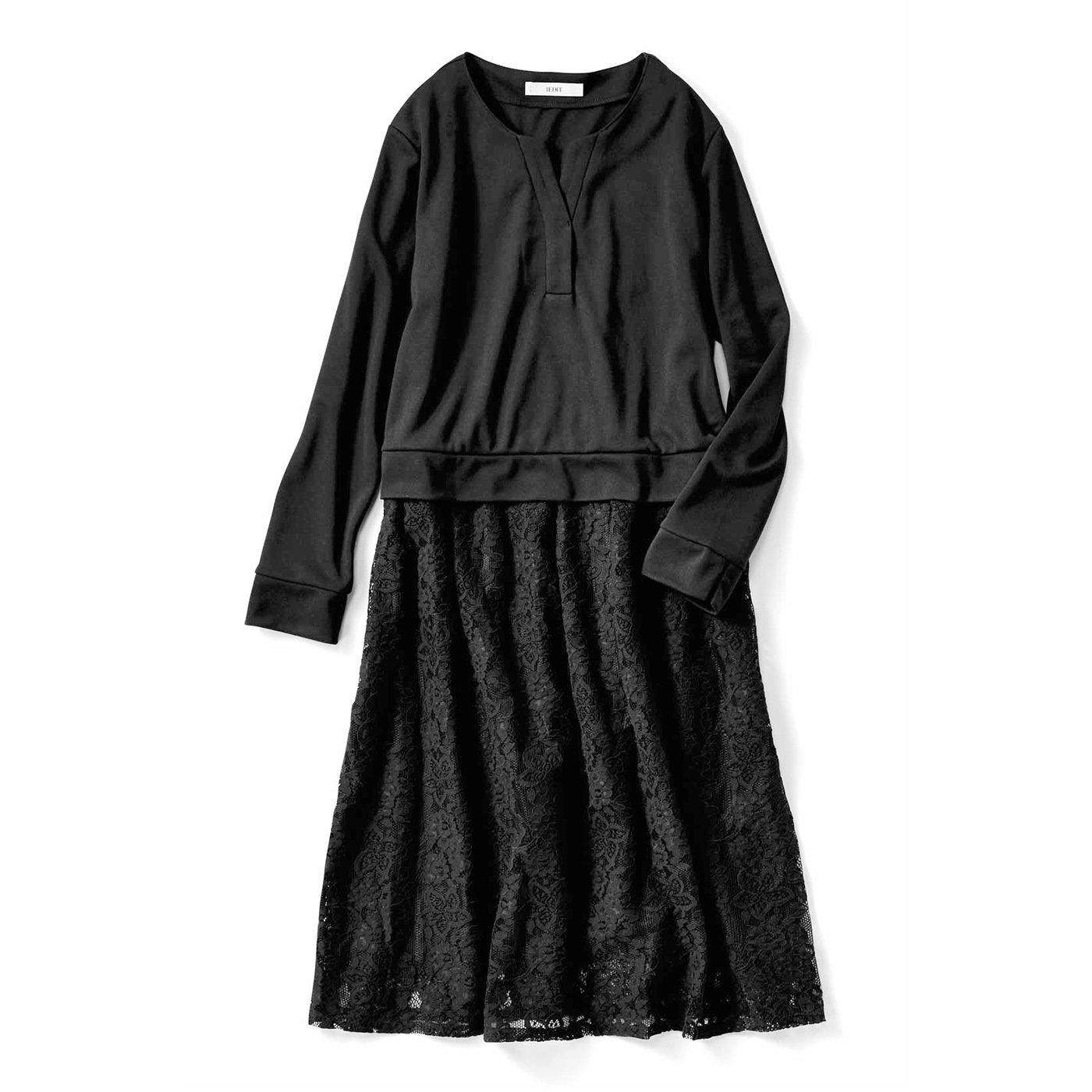 IEDIT[イディット] カットソーブラウスとレーススカートの上品シックなドッキングワンピース〈ブラック〉