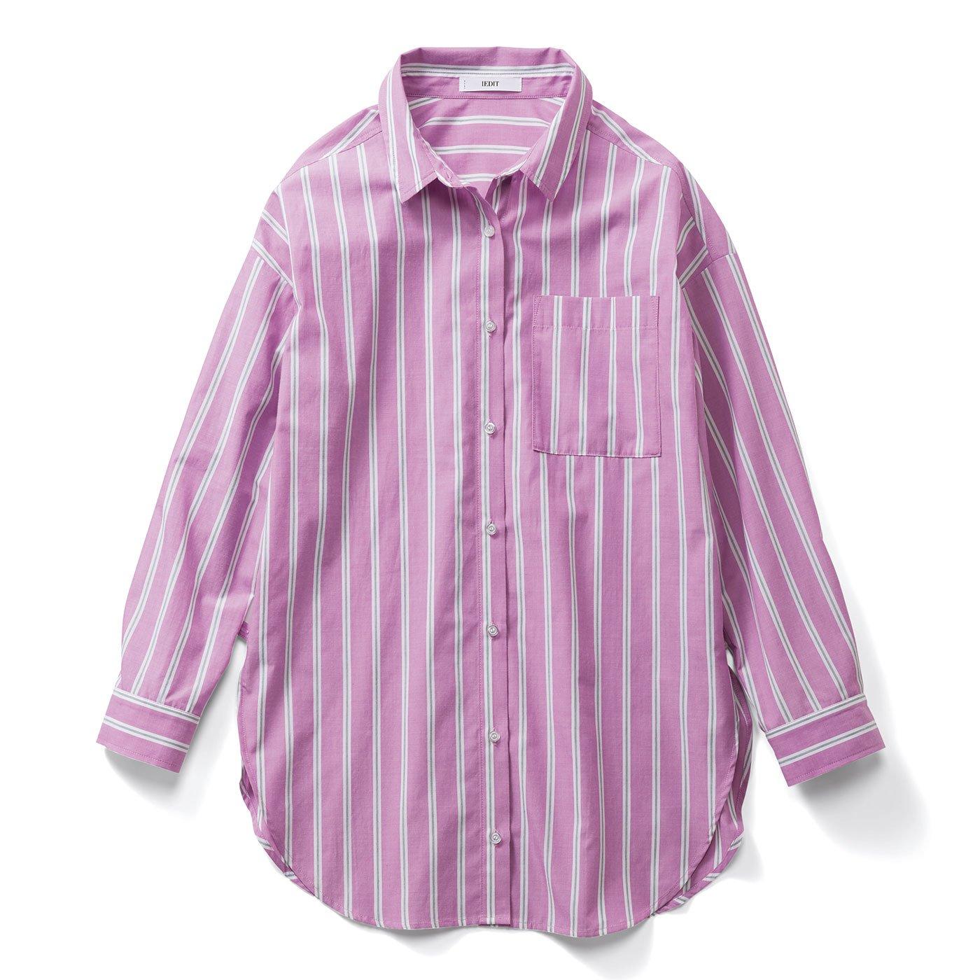 【3~10日でお届け】IEDIT[イディット] キレイ色で着映えする ソロテックス(R)混のストライプロングシャツ〈パープル〉