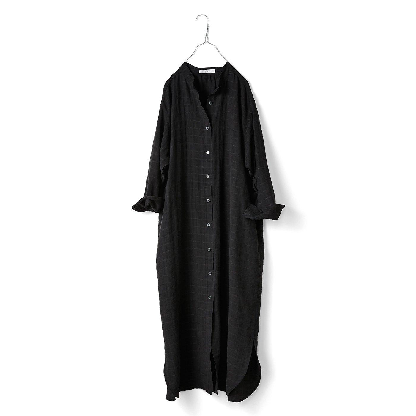 IEDIT[イディット] リヨセル混素材のロングシャツワンピ〈ブラック〉