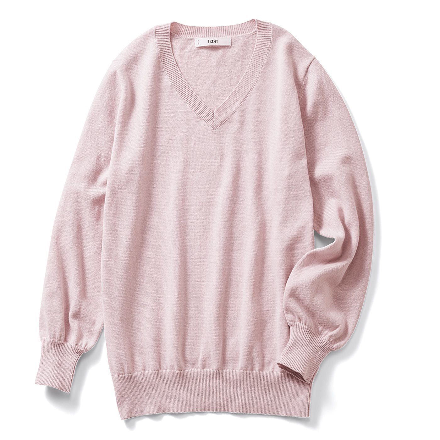 IEDIT[イディット]  コットンシルク素材の ハイゲージVネックニット〈ピンク〉