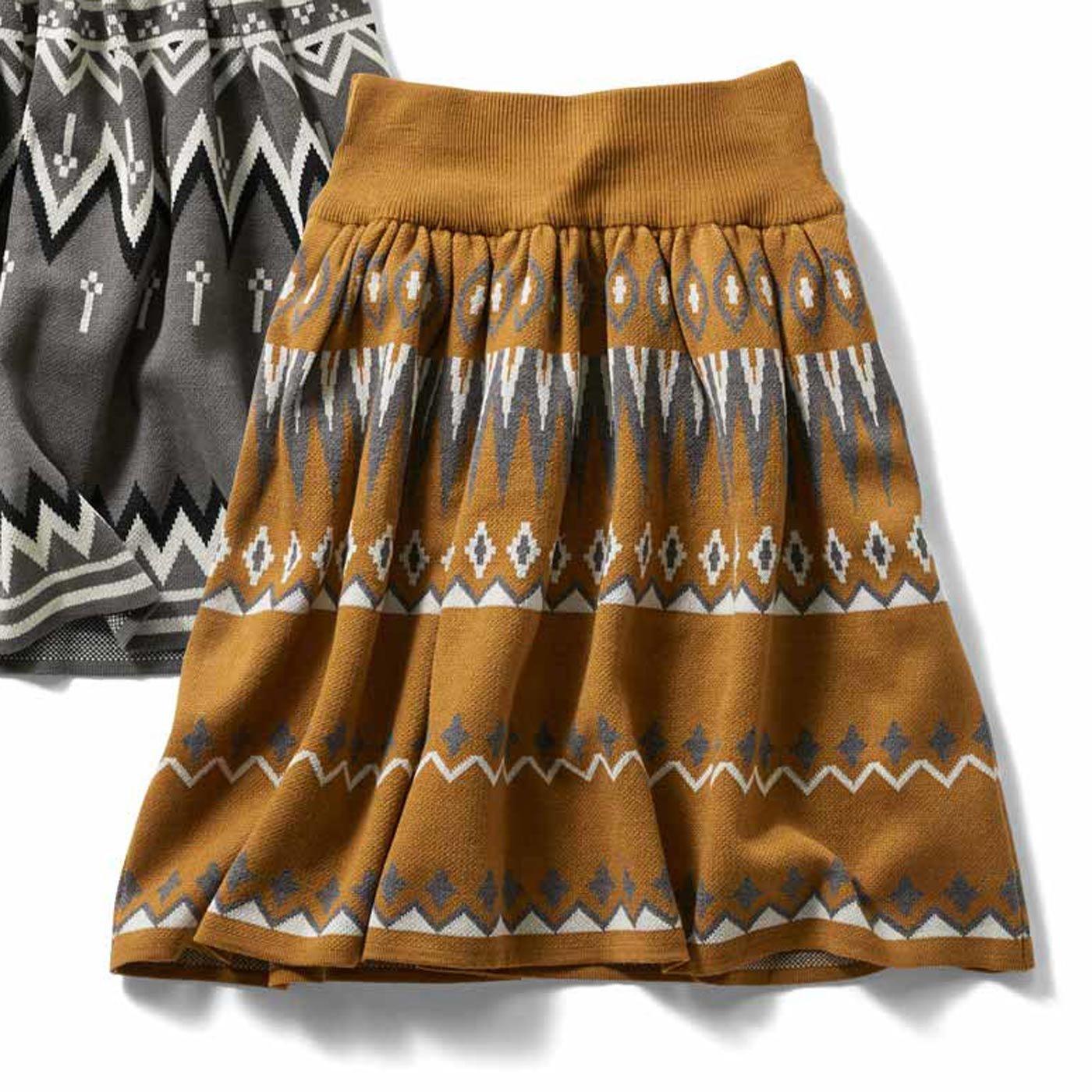 IEDIT[イディット] ジャカード柄のウエストリブニットスカート〈キャメル〉