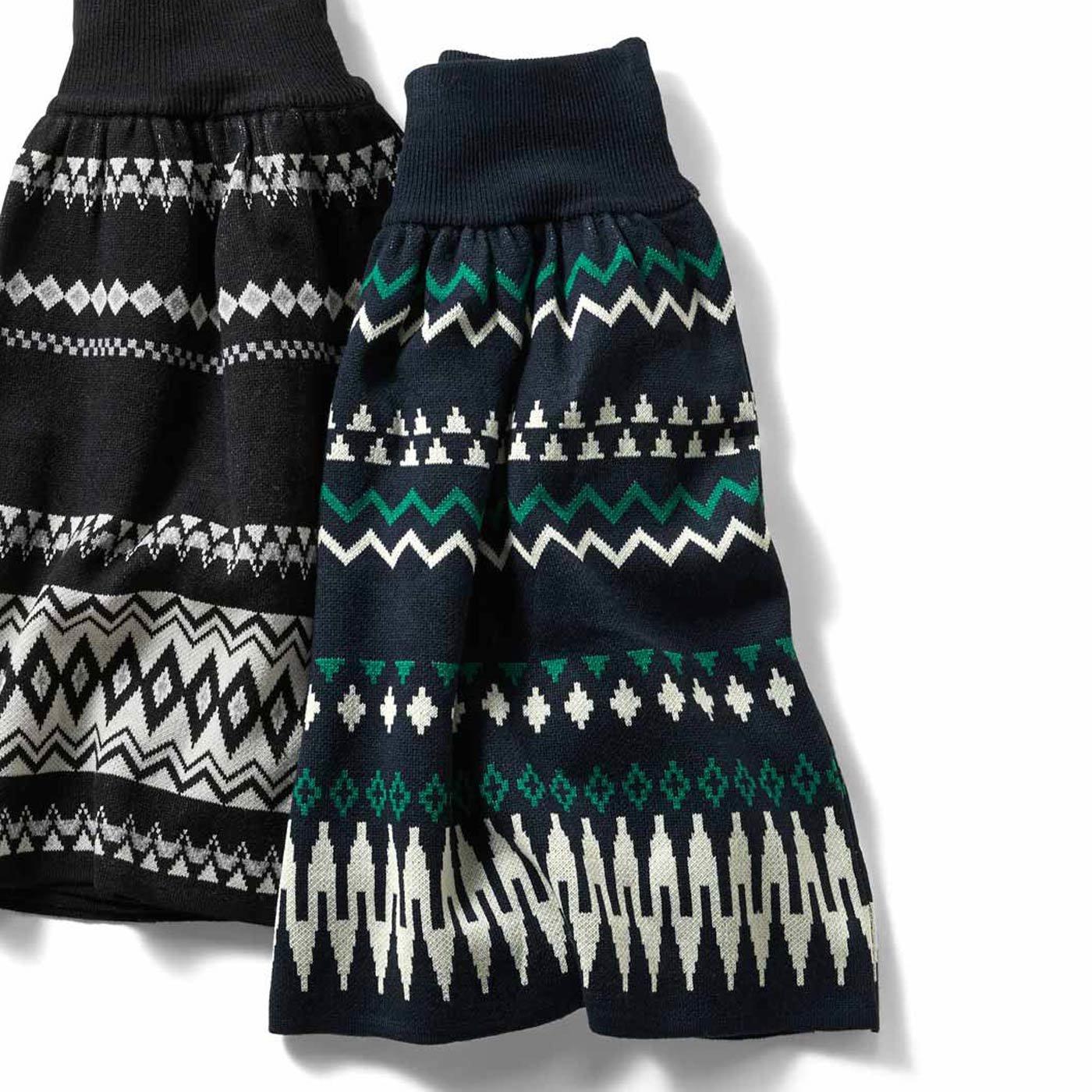 IEDIT[イディット] ジャカード柄のウエストリブニットスカート〈ネイビー〉