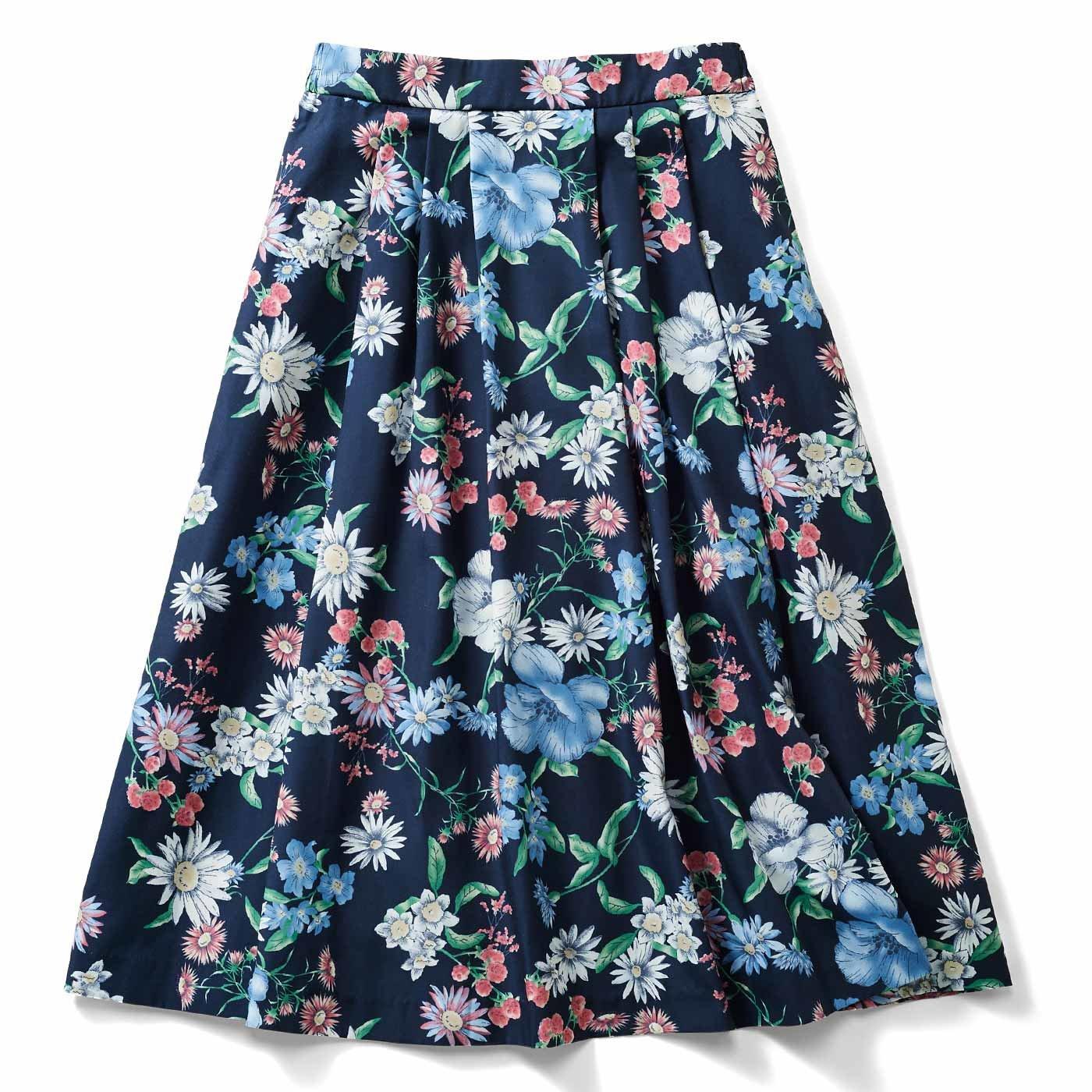 IEDIT[イディット] 華やか柄でコーディネイトが着映えする花柄フレアースカート〈ネイビー〉