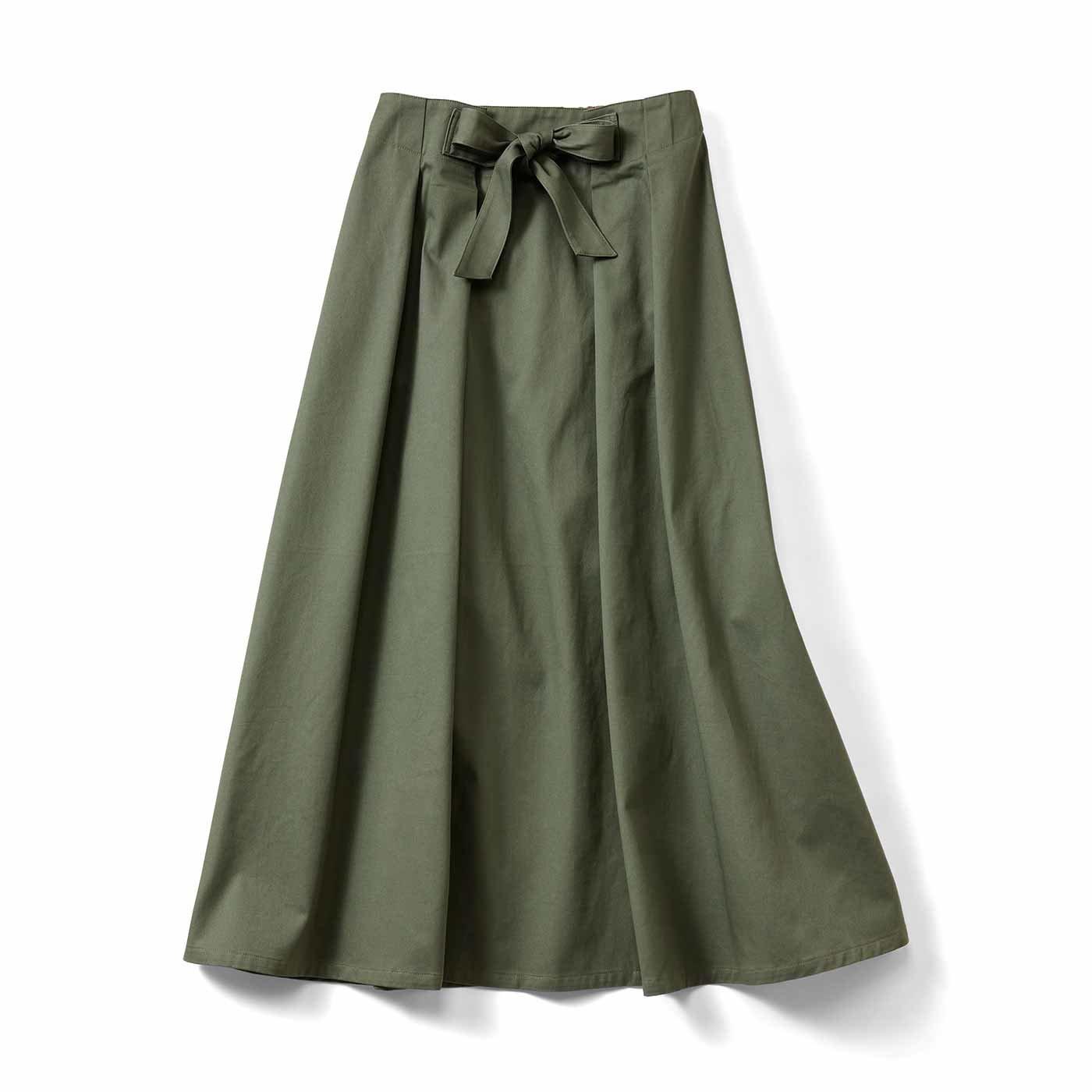 IEDIT[イディット] フレアーラインがきれいに広がる ロングスカート〈カーキ〉