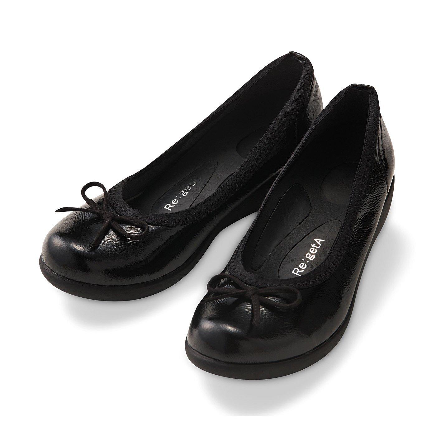 リゲッタ ローリング歩行機能ですいすい歩けるリボンパンプス〈ブラック〉