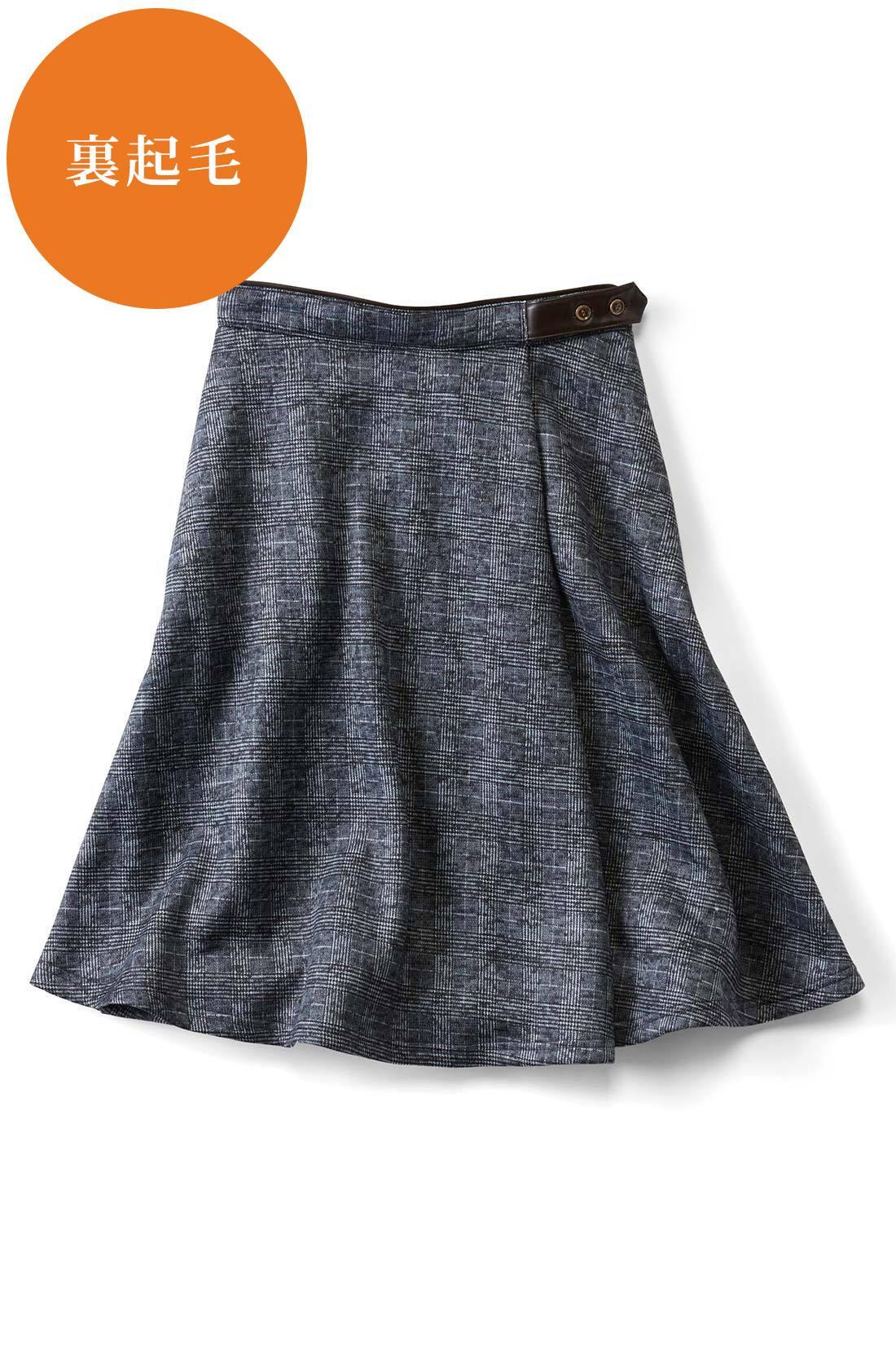 きちんと感高まる〈ダークグレーグレンチェック〉 ウエストはパイピング&飾りベルト仕様 ウエスト部分は合皮パイピングのアクセント。女っぽくトップスインするスタイルも決まるうれしいディテール。 右サイドには便利なポケット。