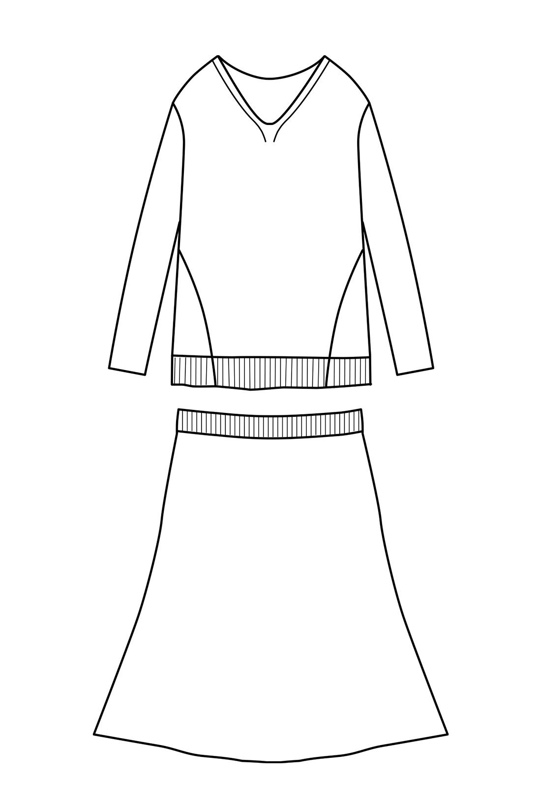 華奢(きゃしゃ)見えトップス+フレアースカート トップスの縦リブとサイドの編み地切り替えで細見せがかなう、体形を拾いにくいニットの絶妙バランス。セットで着ることで、自然なフィット&フレアーに。
