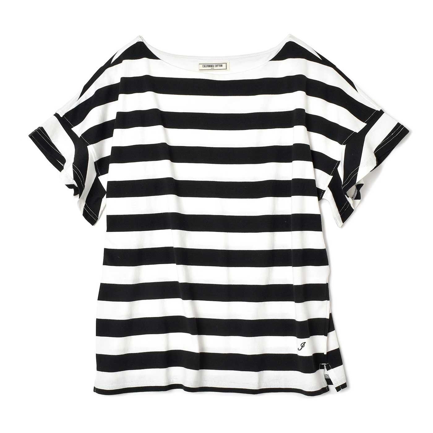 IEDIT  カリフォルニアコットンの太ボーダーTシャツ〈ブラック×ホワイト〉