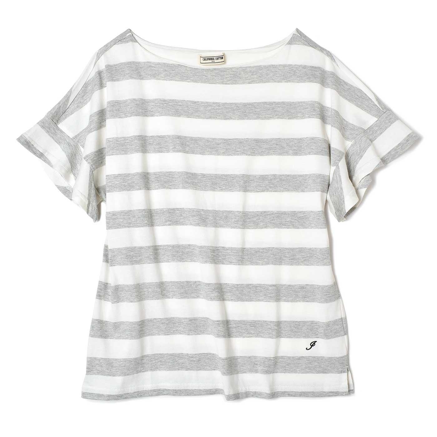 IEDIT  カリフォルニアコットンの太ボーダーTシャツ〈ライトグレー×ホワイト〉