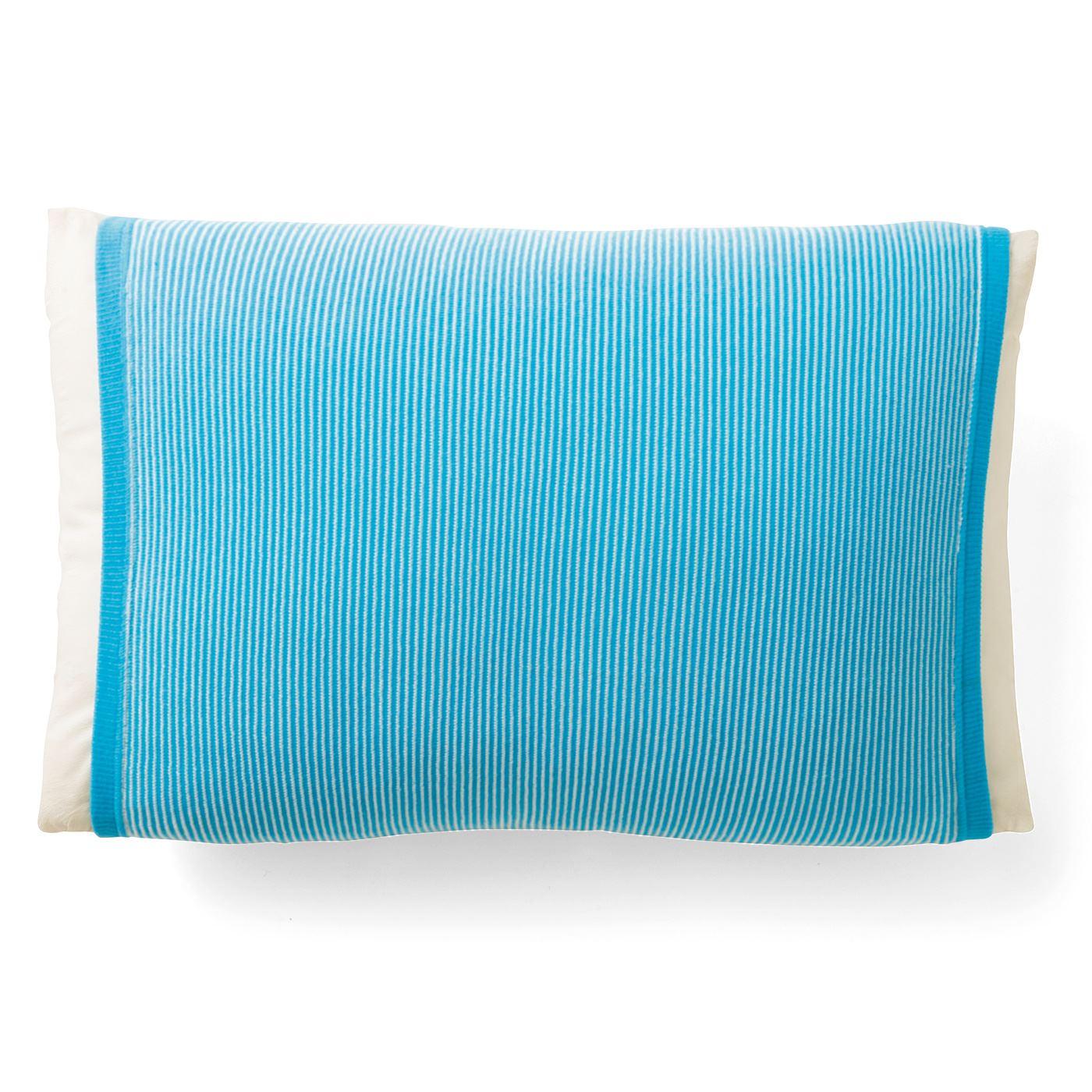 フェリシモ 丸ごと包んで快適 接触冷感 涼やか色のボーダー枕カバーの会