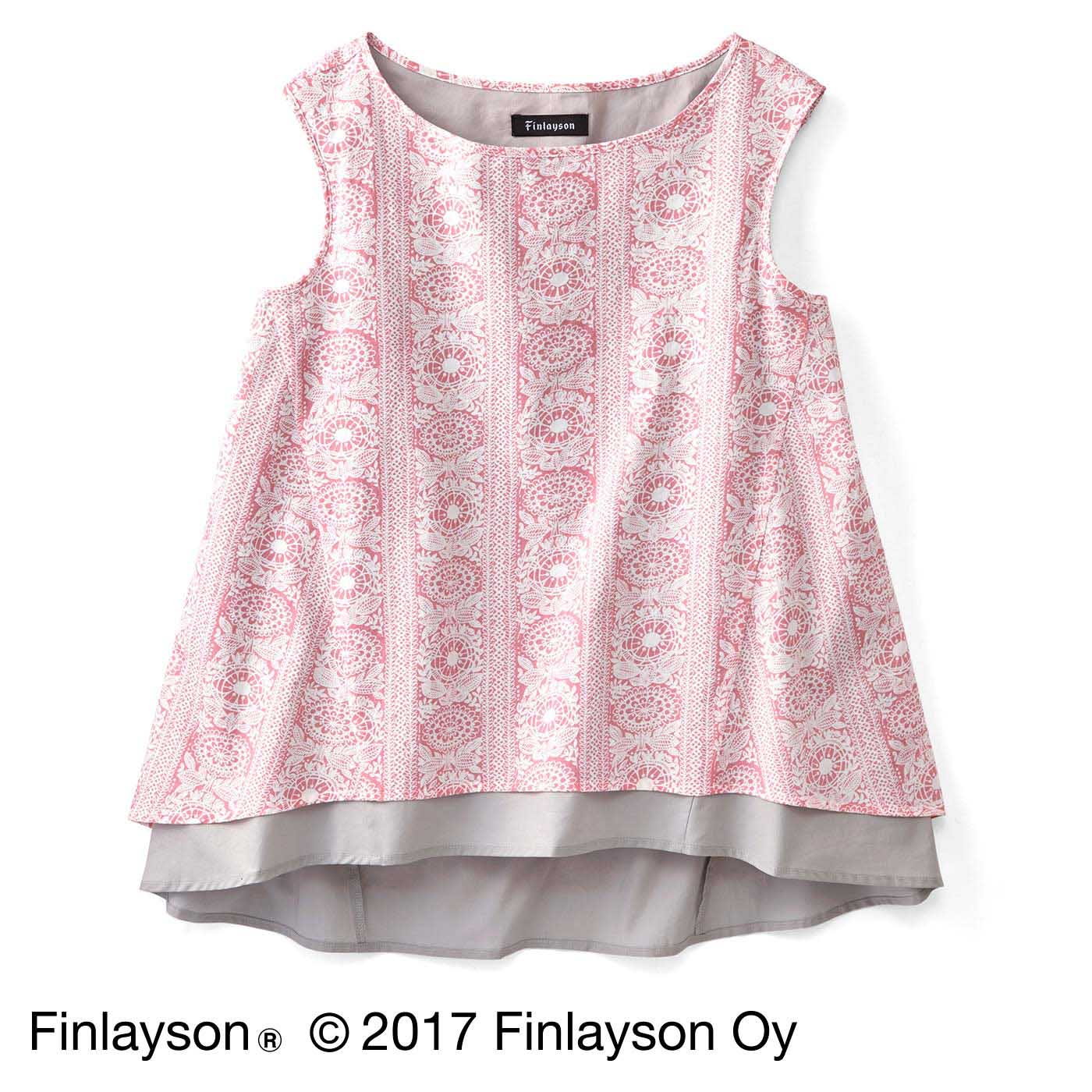 Finlayson フィンレイソン 色の重なりを楽しむノースリーブトップス〈タイミ〉