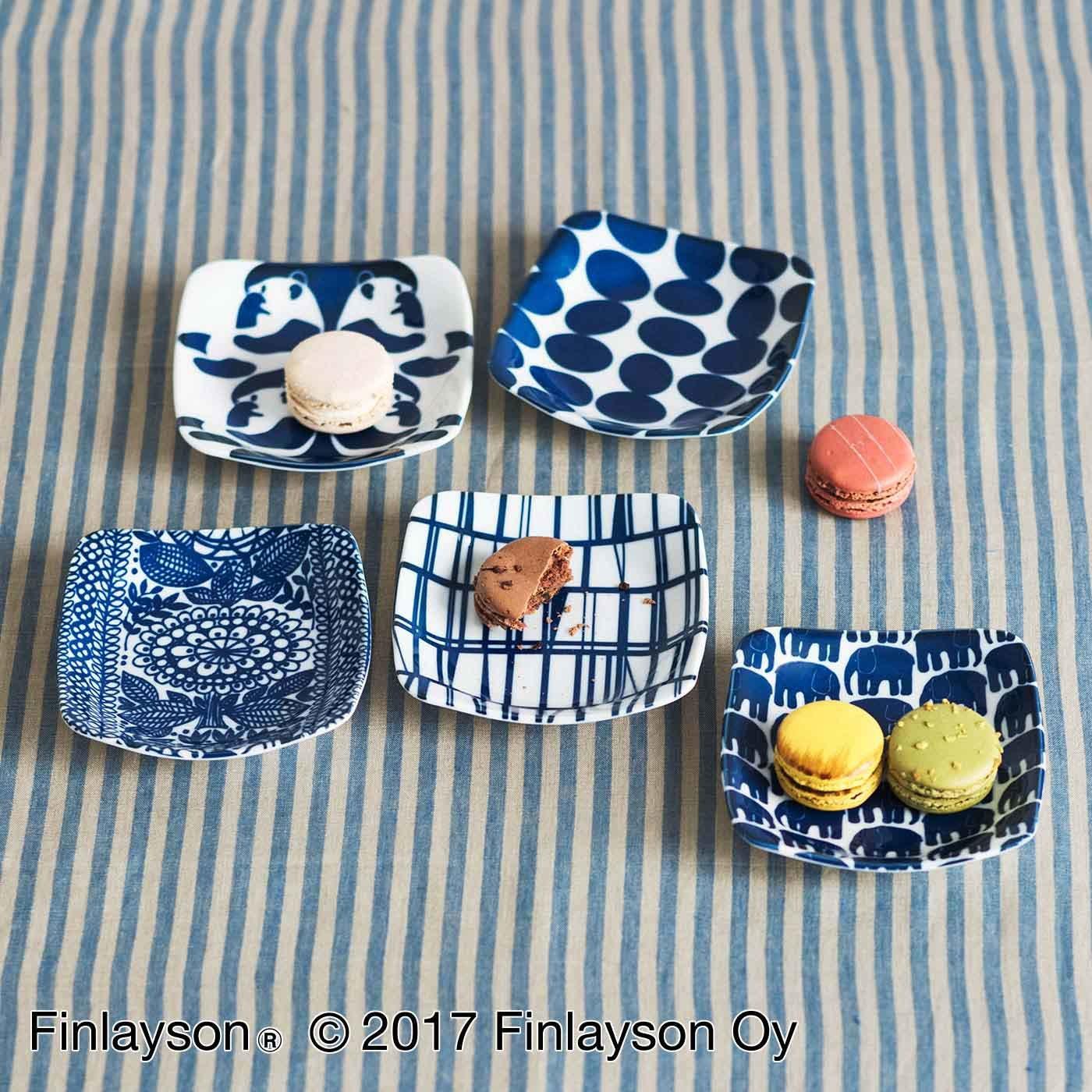 Finlayson フィンレイソン 藍色美しい5種類の角皿セット