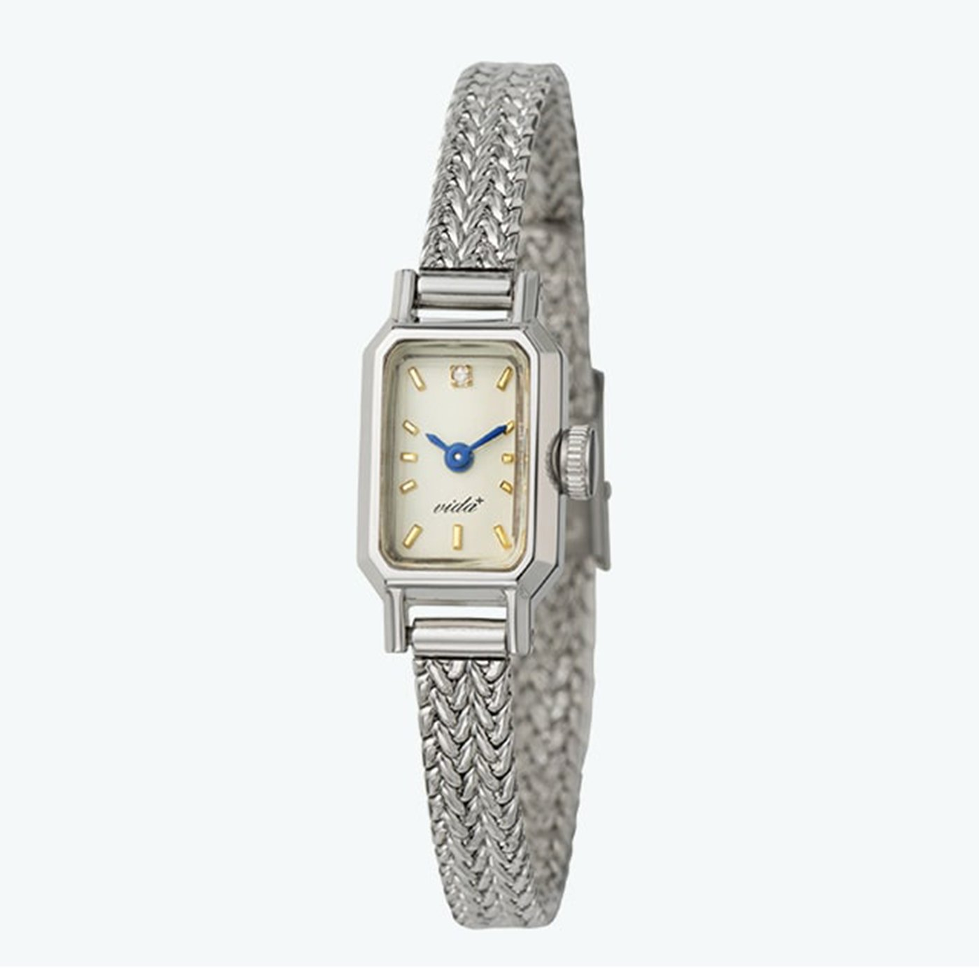 IEDIT[イディット] SELECT VIDA+ ヴィーダプラス 12時位置のダイヤモンドが輝くアヤメ織りベルト時計〈シルバー〉 J84967SM