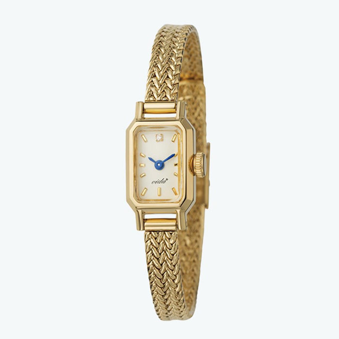 IEDIT[イディット] SELECT VIDA+ ヴィーダプラス 12時位置のダイヤモンドが輝くアヤメ織りベルト時計〈ゴールド〉 J84966GM