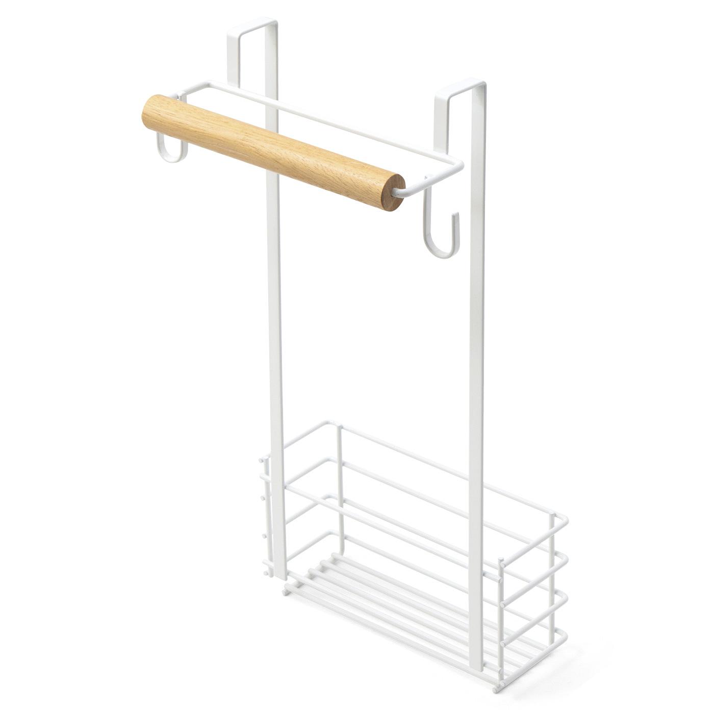 ハンガーひとつで、タオル掛けと収納ラック、つり下げフックの3役こなします。