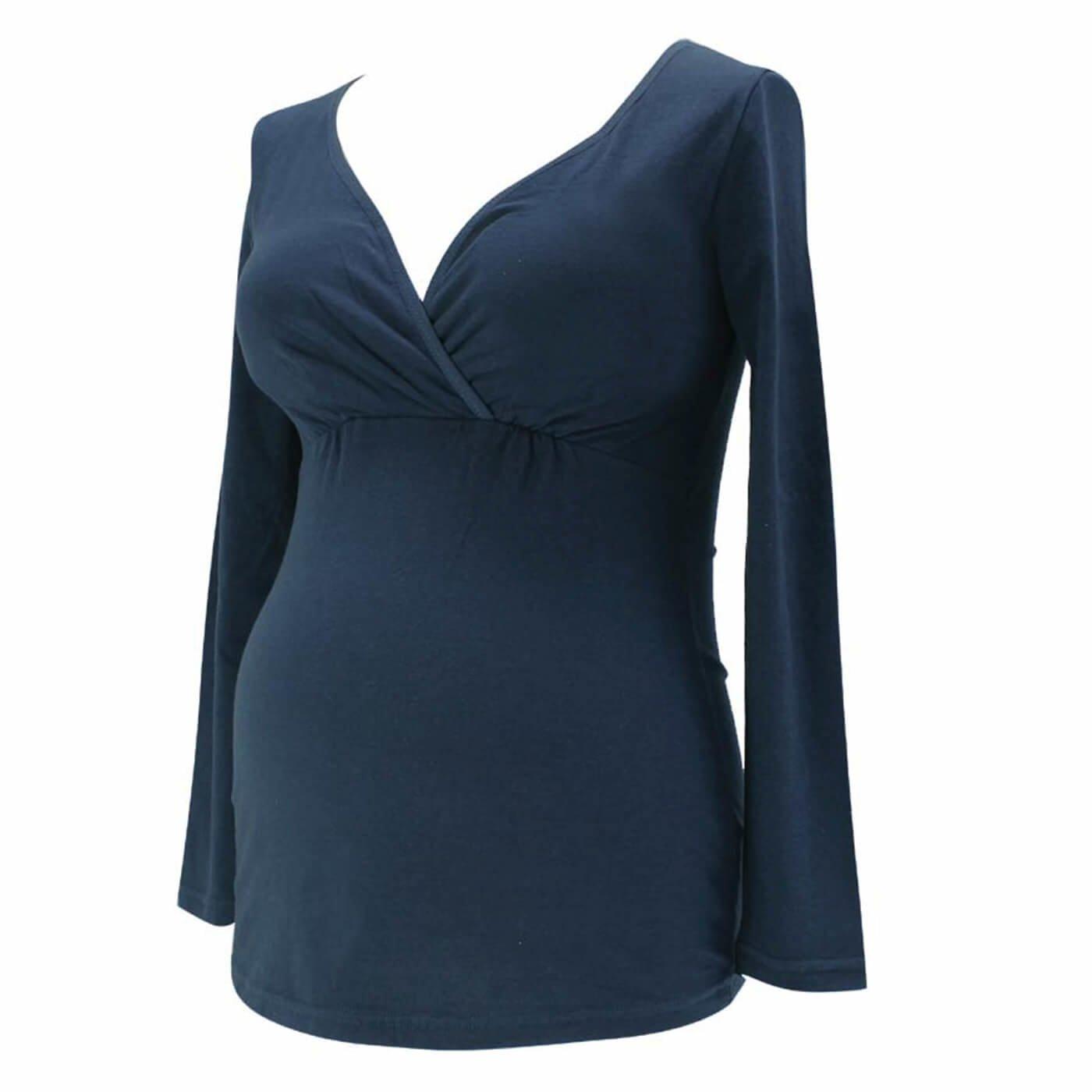 マタニティ・産後使える 綿100%の授乳らくらく長袖インナートップス〈ネイビー〉