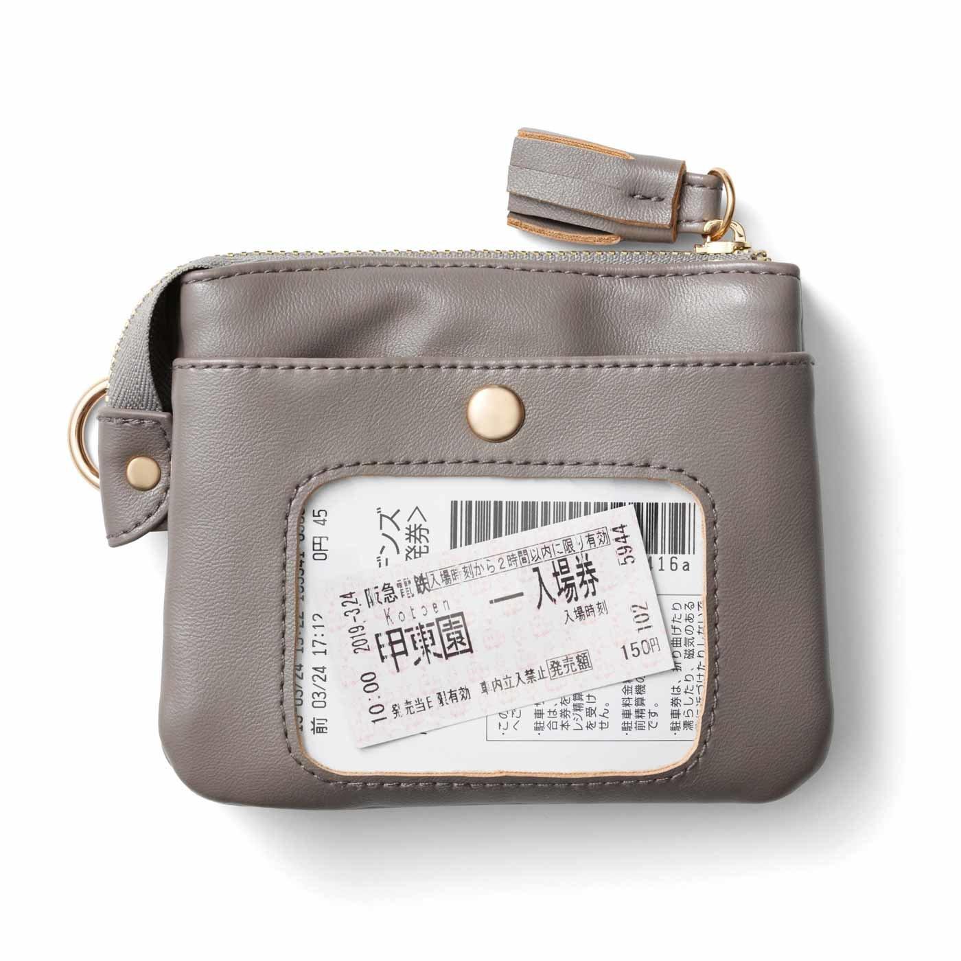 クリアポケットが決め手 エコレザーで作った3層設計ポーチ財布の会