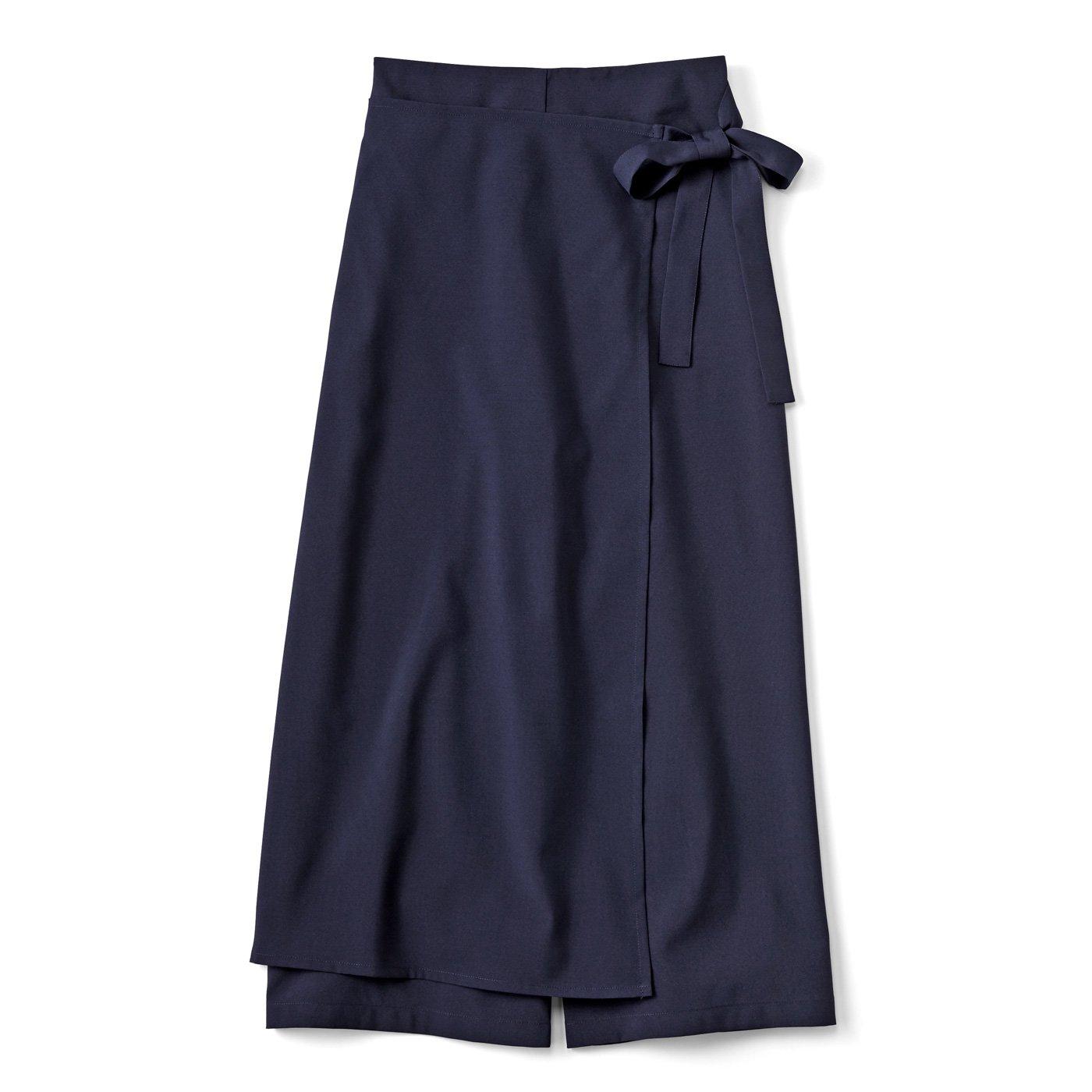 【3~10日でお届け】スカート見え ラップパンツ〈ネイビー〉