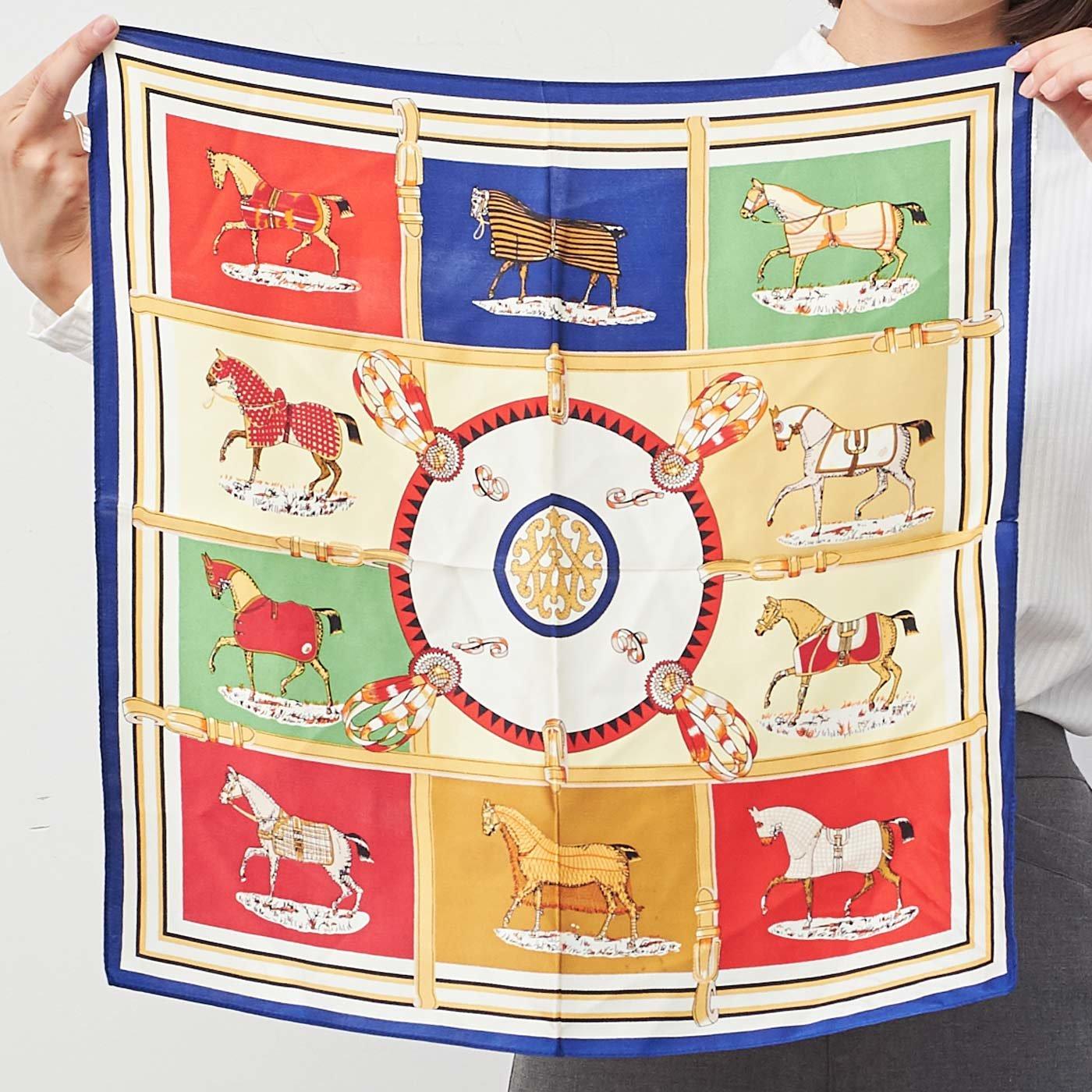 IEDIT[イディット] SELECT トレンドの馬柄を使ったシルクスカーフ 22778