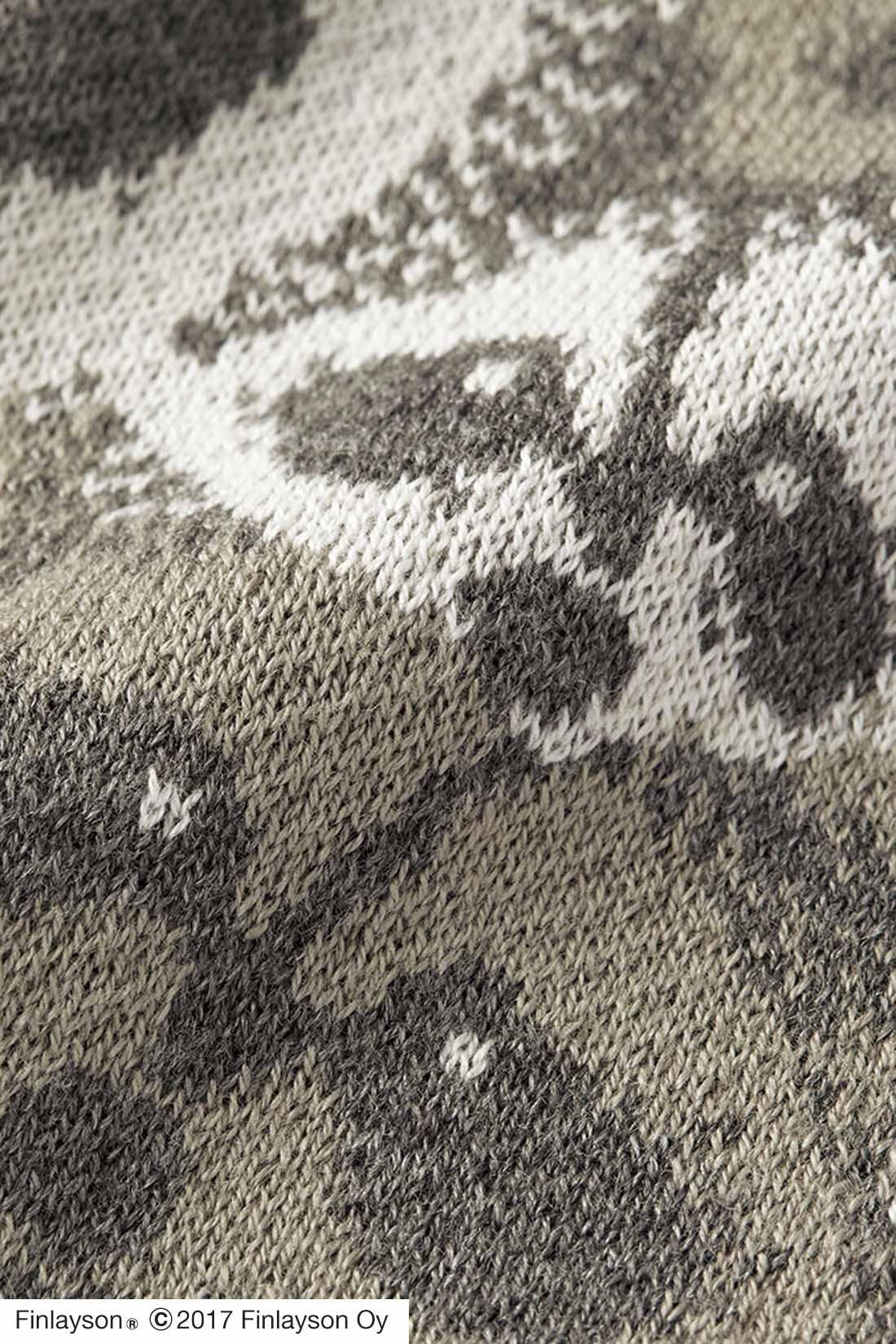 肌ざわりのよい綿混素材。繊細なジャカード編みで柄の美しさを表現。