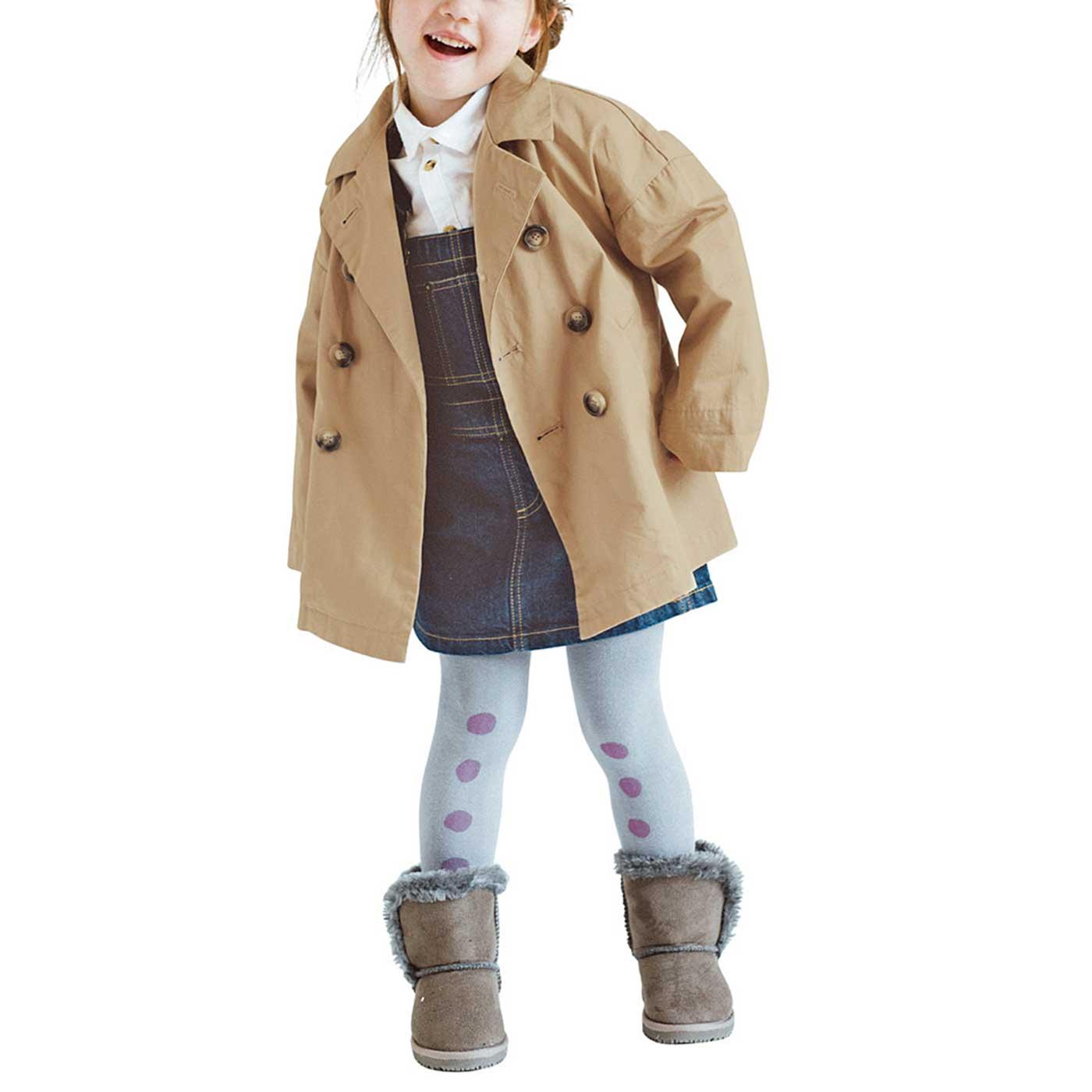 ドロップショルダーで、ゆったりしたデザイン。今年は袖をまくって、来年は袖を伸ばして、長く着られます。 101cm/10サイズ