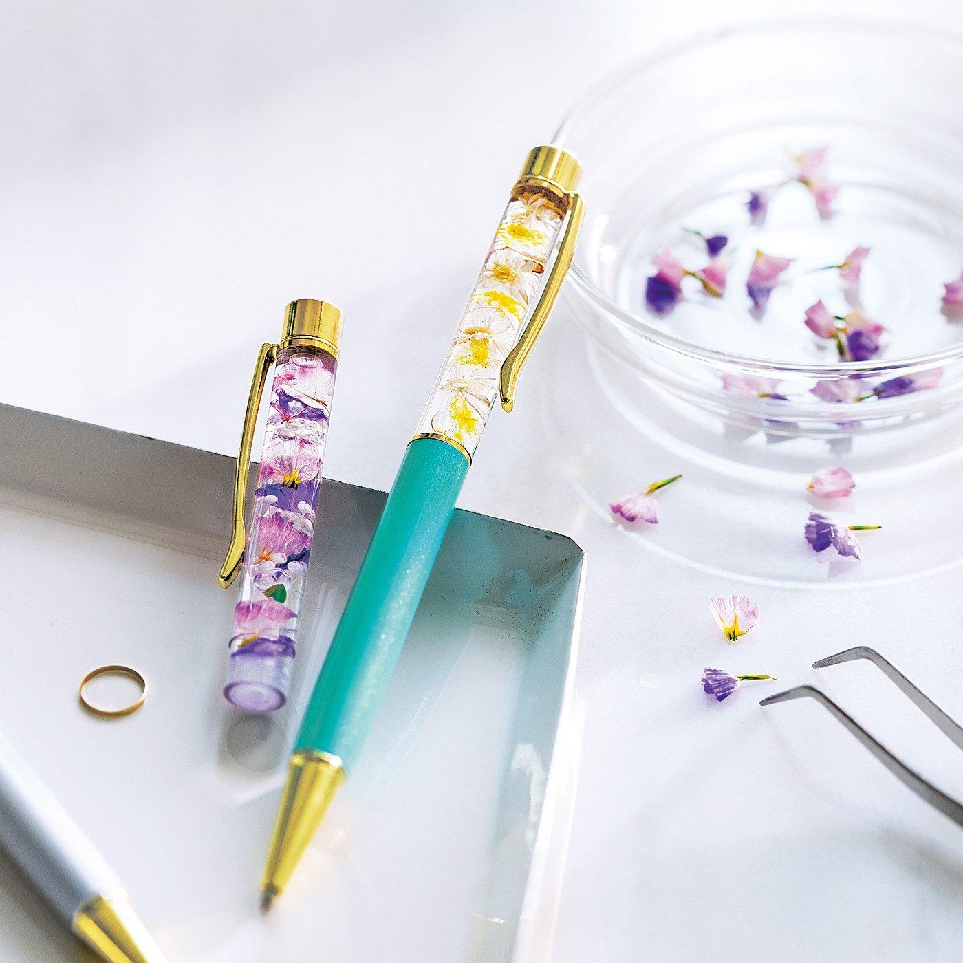 みずみずしく舞う花の標本ハーバリウムボールペン手作りキット2本セット