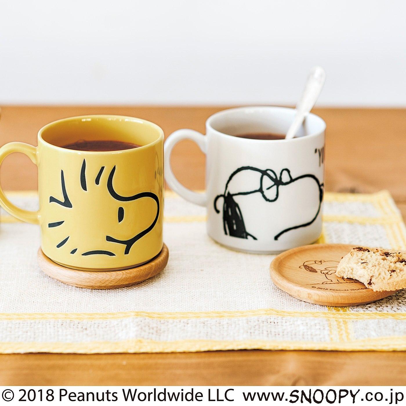 ヴィンテージピーナッツ スヌーピー 小皿にもなる木製ふた付きマグの会