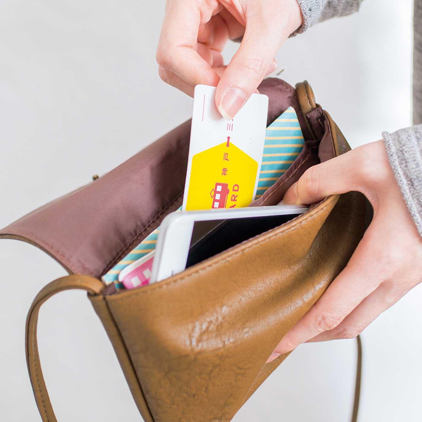 財布やスマートフォン、ハンカチなど必要なものをコンパクトに収納。小物を仕分けるのに便利な内ポケット付き。