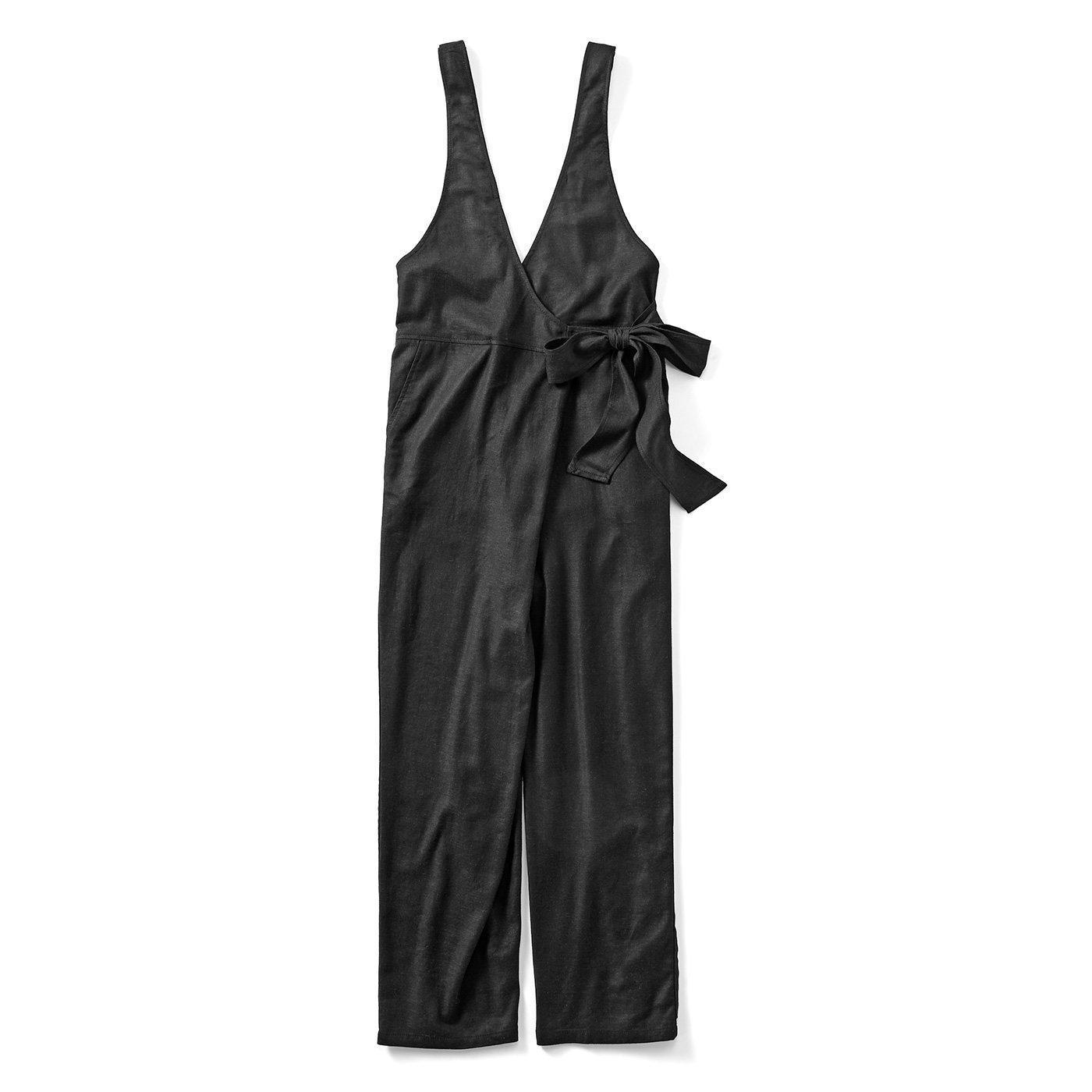 リブ イン コンフォート サラリときれいめに着られる 麻混カシュクールサロペット〈ブラック〉