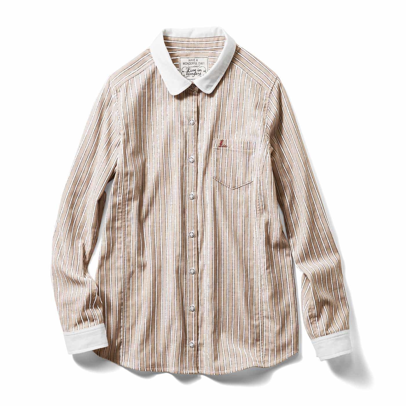 【3~10日でお届け】リブ イン コンフォート 重ね着してももたつかない! ストレッチガーゼ×カットソーの伸びシャツ〈ベージュストライプ〉