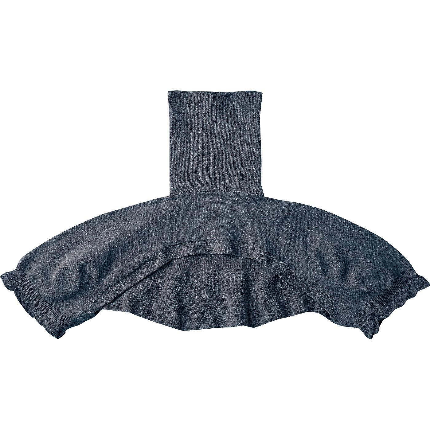 ホールガーメント(R)の解放感 絹混ニットの首肩ウォーマー〈ネイビー〉