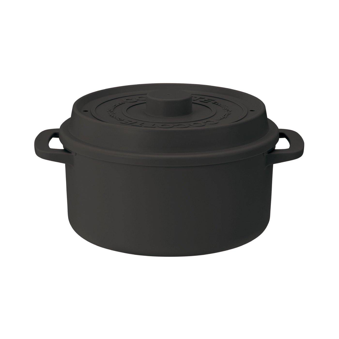 そのままテーブルへ!ココット風電子レンジ用鍋(1.6L) ブラック