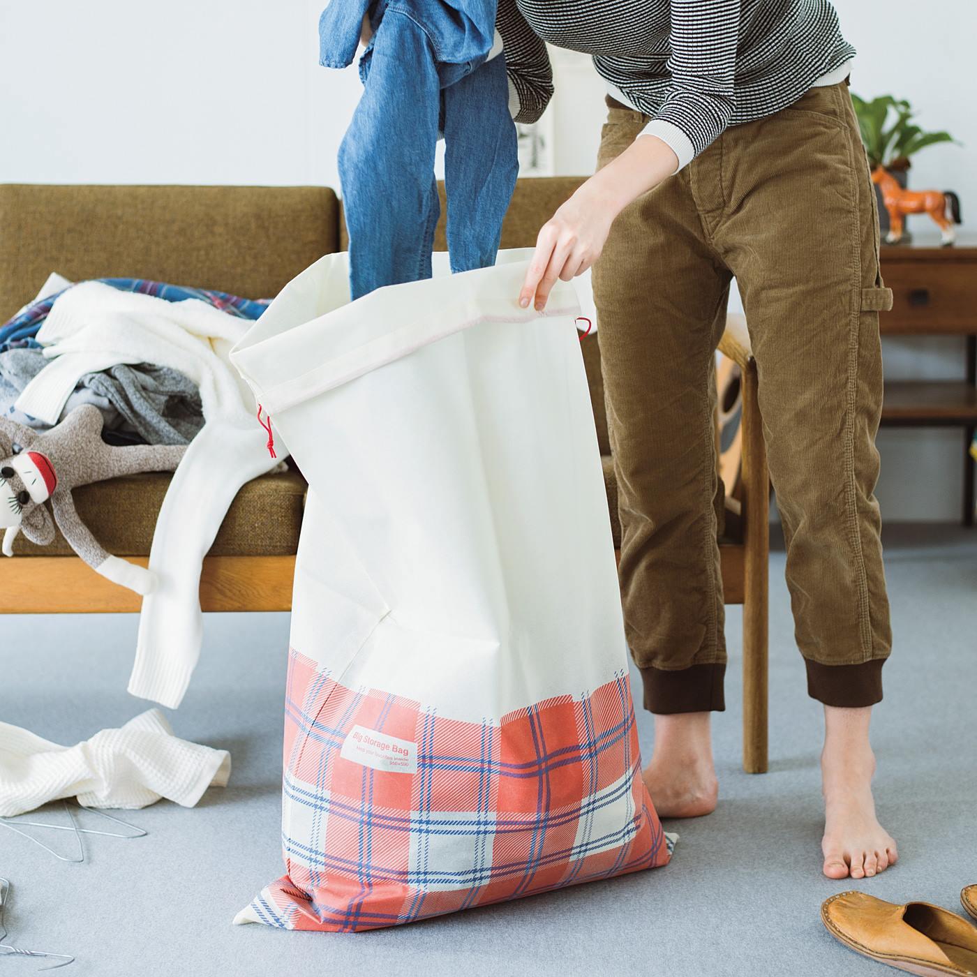 急な来客!ってときには、散らかってるものをワサッと集めて入れ込めば、たちまち目隠し収納完了!