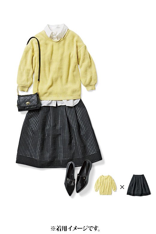 これは参考画像です。女子会やちょっとしたお食事には、ニット×透け感のあるスカートがおすすめ。さりげなくモードに仕上げて、センスよく。