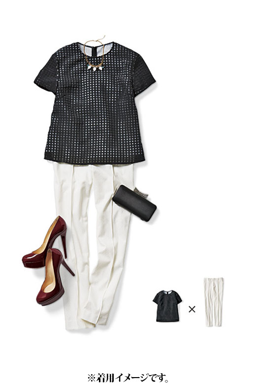 これは参考画像です。チェックのトップス×白のジャガードパンツはトレンドをおさえた洗練スタイル。パーティーにもお似合いです。