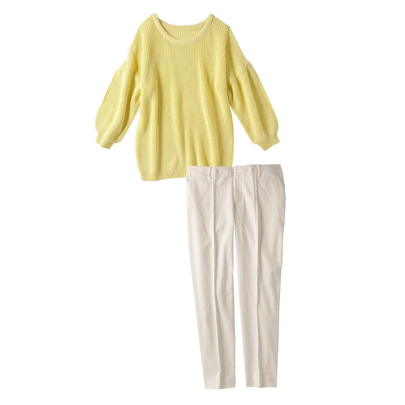 レモンニット&ジャカードきれいめホワイトパンツ