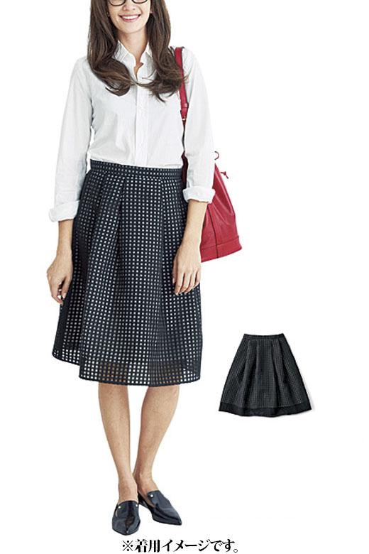 これは参考画像です。透け感がモードなスカートは、白シャツを合わせればオフィス使用にもOK。清潔感のあるシックな印象です。