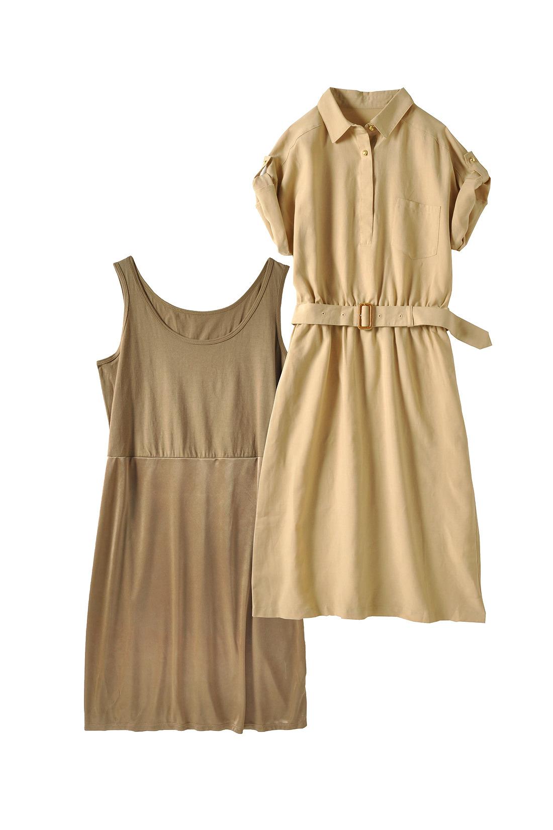 ベージュのシャツワンピはリネン混素材だから、ゆるっとリゾート風に着こなすのもあり。