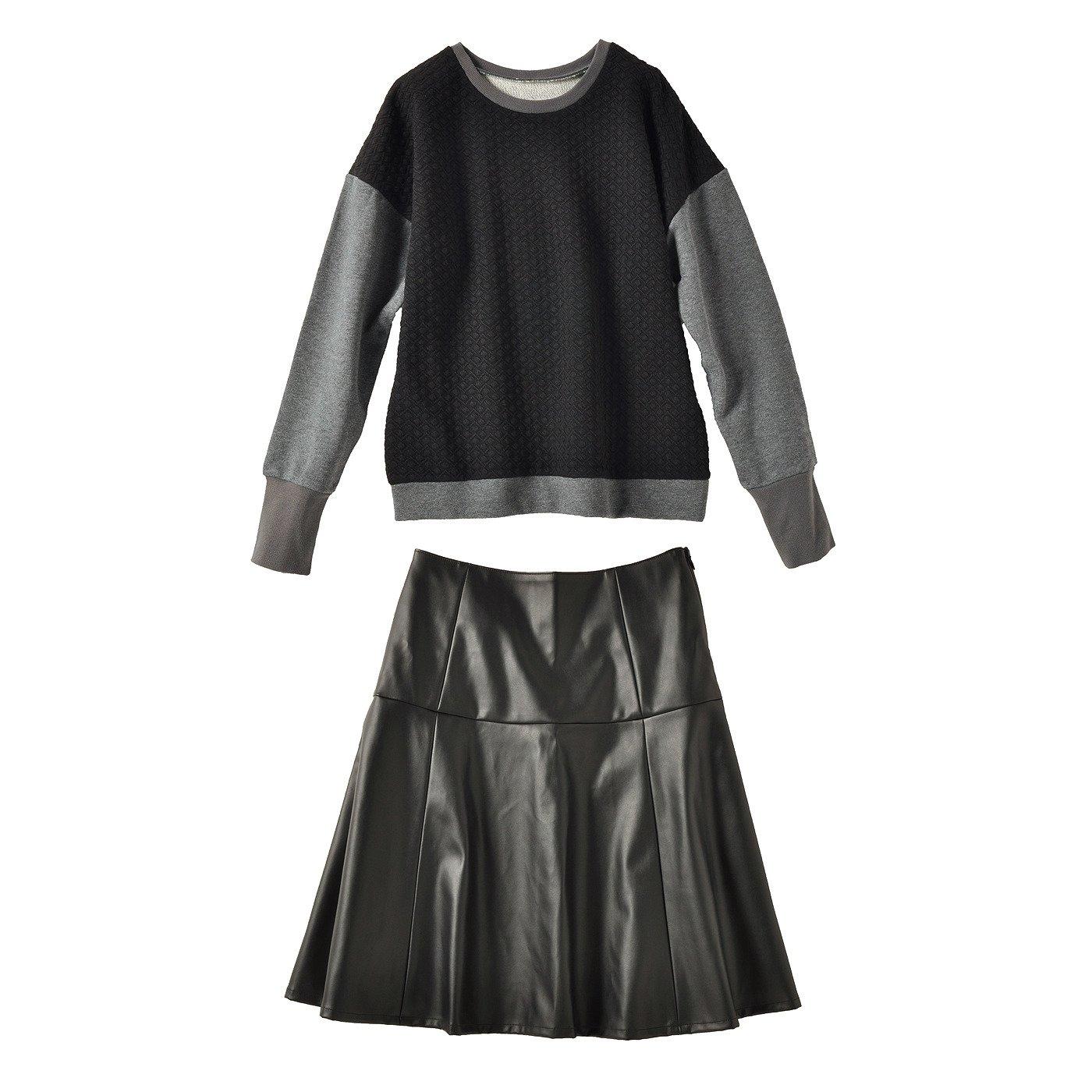 異素材トレーナー&ブラックスカート