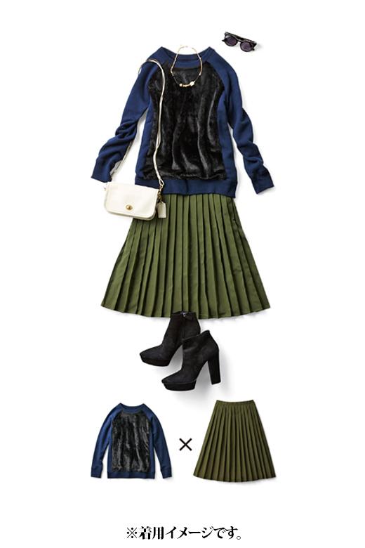 これは参考画像です。スウェット×スカートもフェイクファーのおかげでカジュアルになりすぎません。白のミニショルダーでコントラストをきかせて。